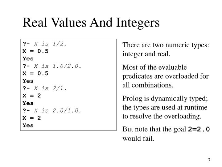 Real Values And Integers