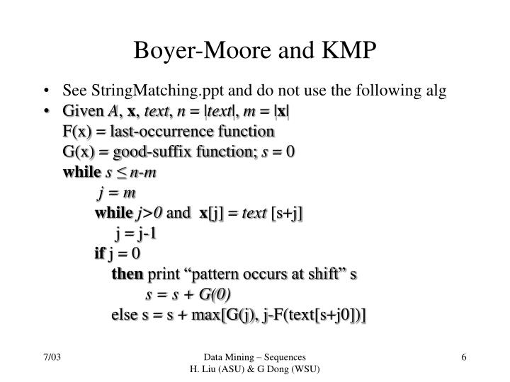 Boyer-Moore and KMP
