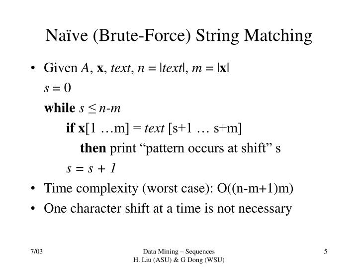 Naïve (Brute-Force) String Matching