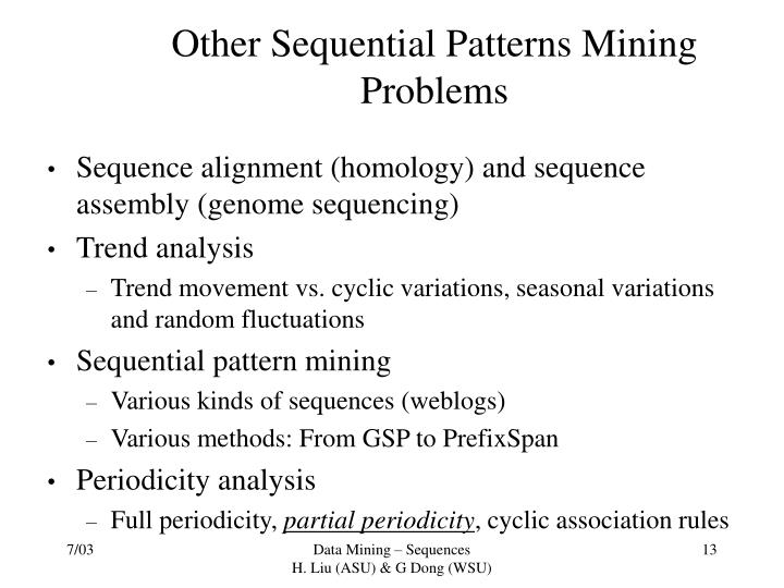 Other Sequential Patterns Mining Problems