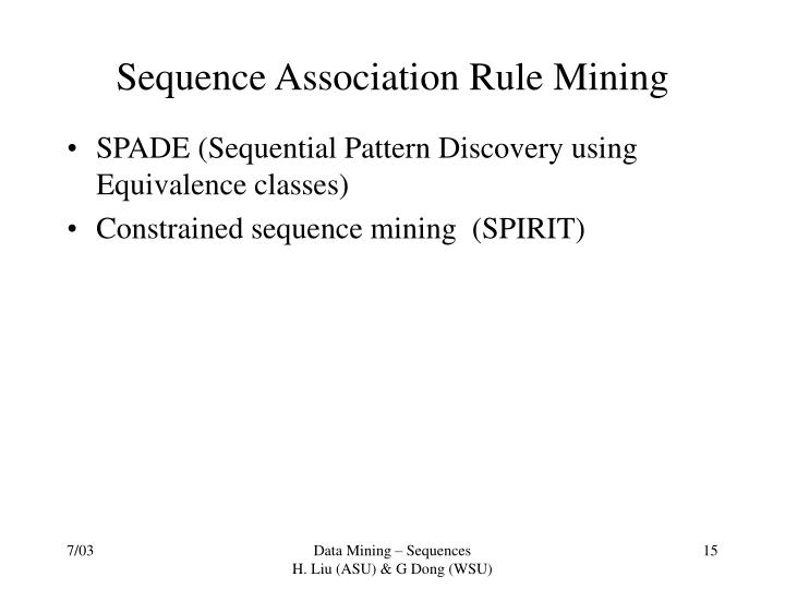 Sequence Association Rule Mining