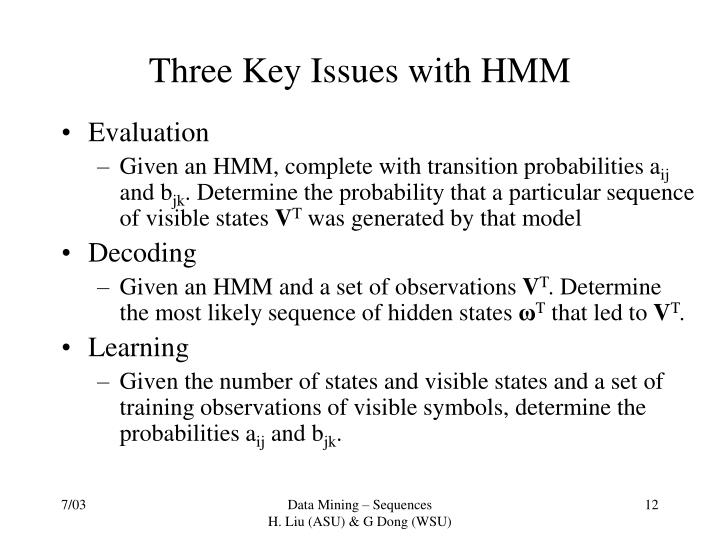 Three Key Issues with HMM