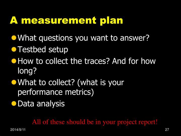 A measurement plan