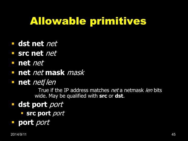 Allowable primitives