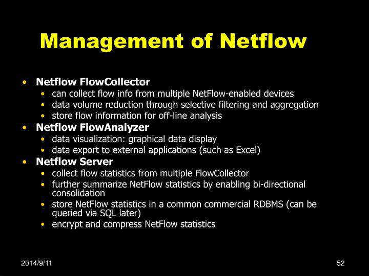 Management of Netflow