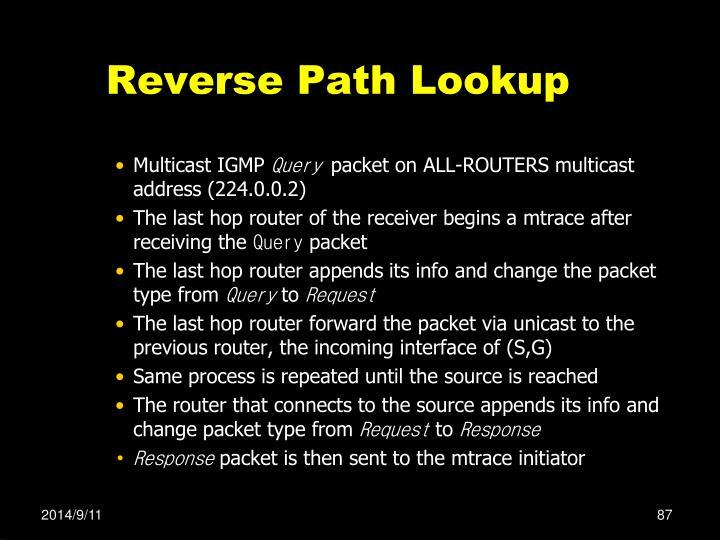 Reverse Path Lookup