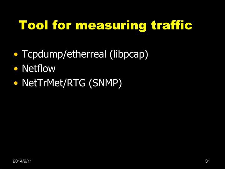 Tool for measuring traffic