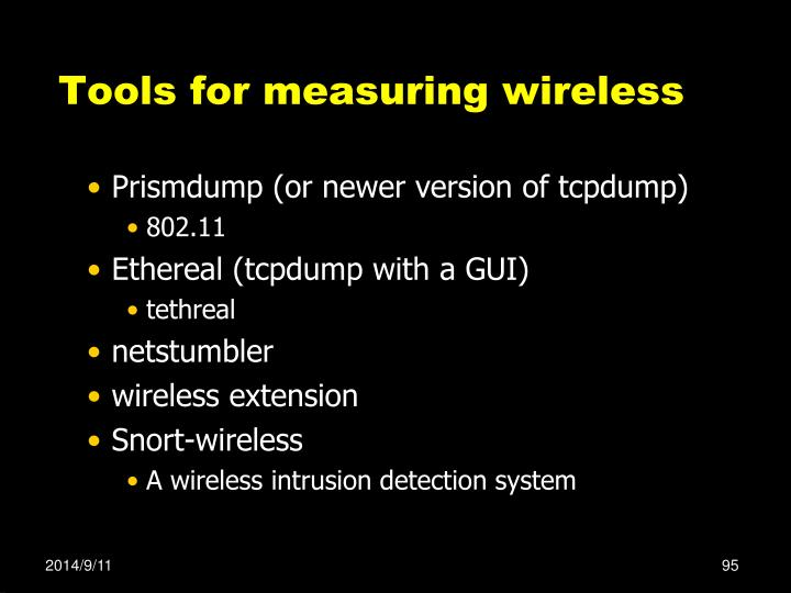 Tools for measuring wireless