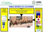 table ronde de colombie