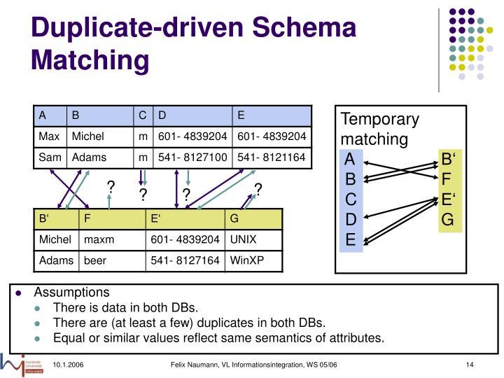 Duplicate-driven Schema Matching