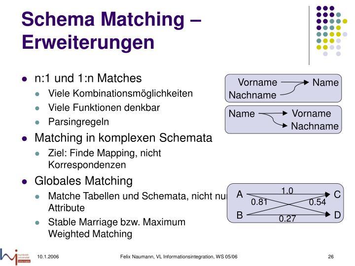Schema Matching – Erweiterungen