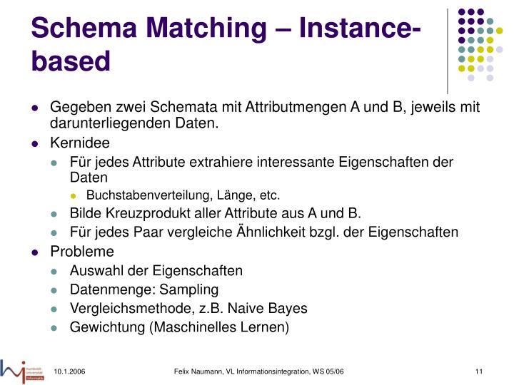 Schema Matching – Instance-based