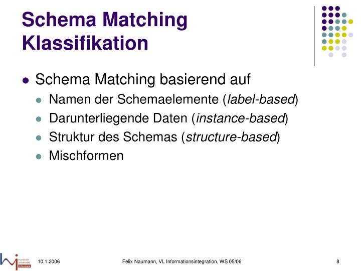 Schema Matching Klassifikation