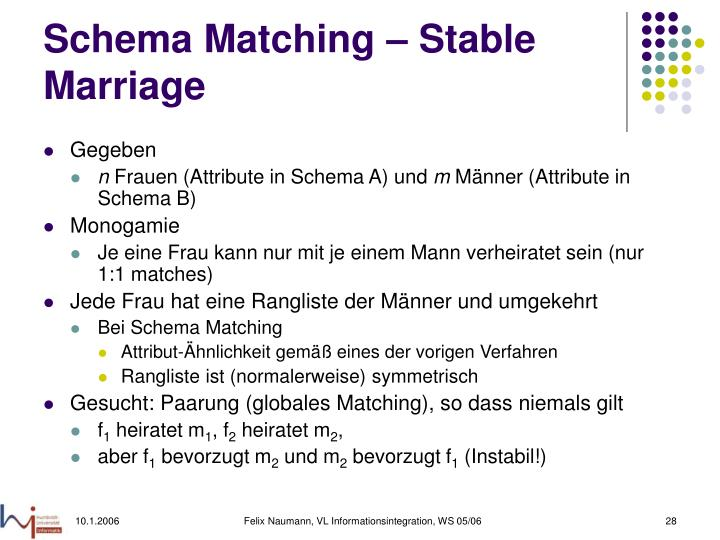Schema Matching – Stable Marriage