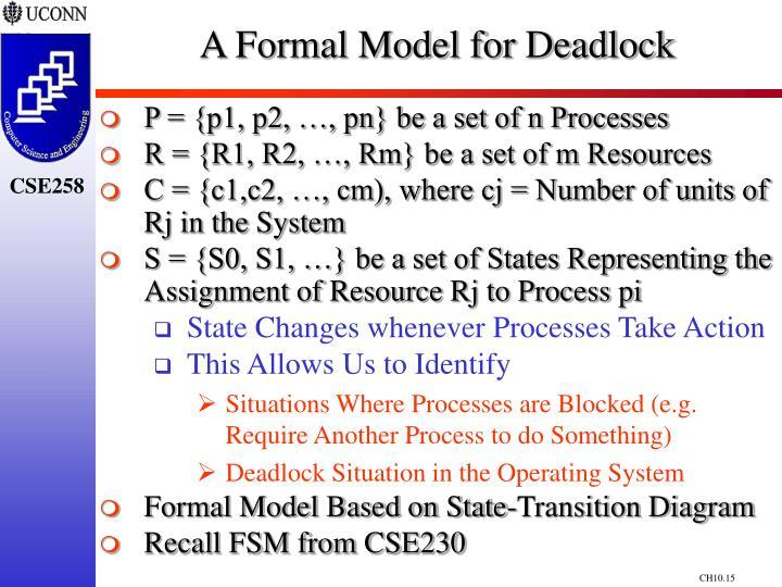 A Formal Model for Deadlock