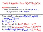 the blr algorithm error n 2 3 log c