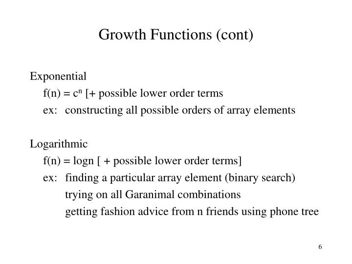 Growth Functions (cont)