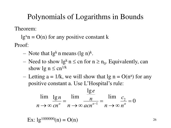 Polynomials of Logarithms in Bounds