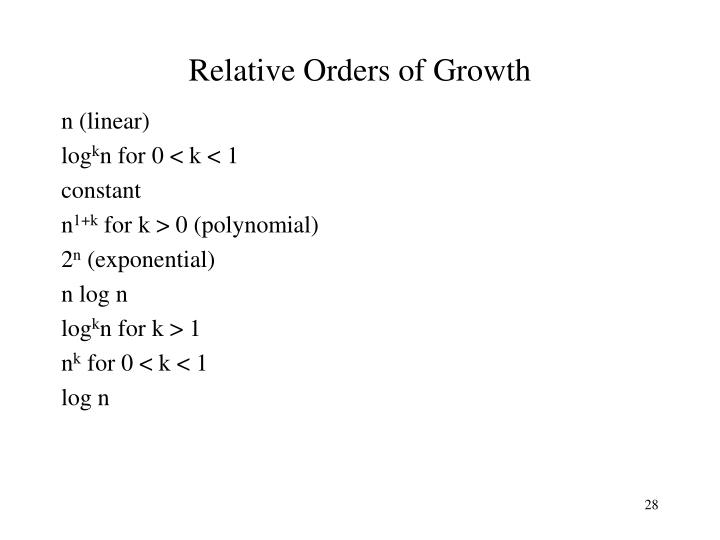 Relative Orders of Growth
