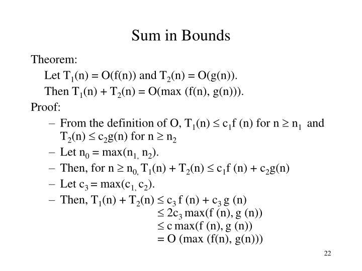Sum in Bounds