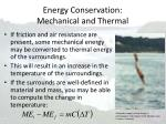 energy conservation mechanical and thermal