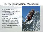energy conservation mechanical