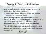 energy in mechanical waves