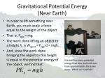 gravitational potential energy near earth