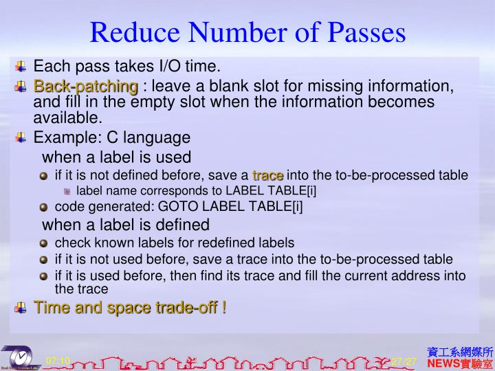Reduce Number of Passes