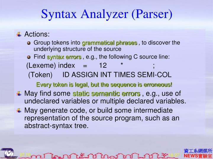 Syntax Analyzer (Parser)