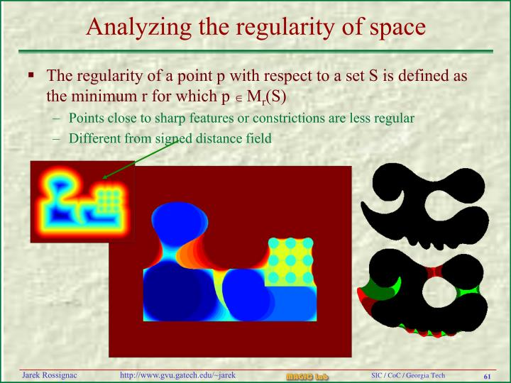 Analyzing the regularity of space