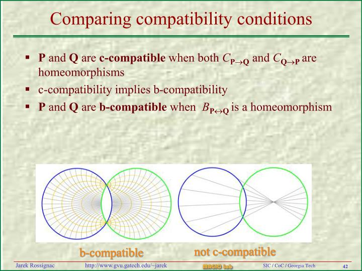 Comparing compatibility conditions