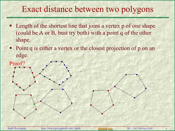 Exact distance between two polygons