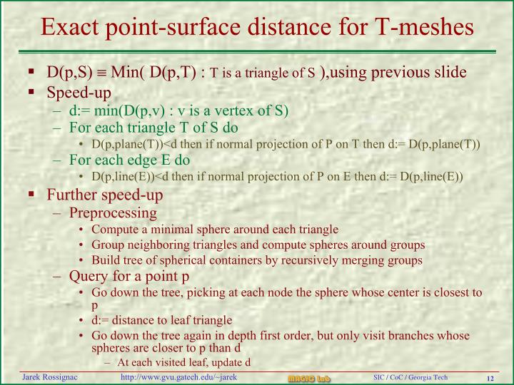 Exact point-surface distance for T-meshes