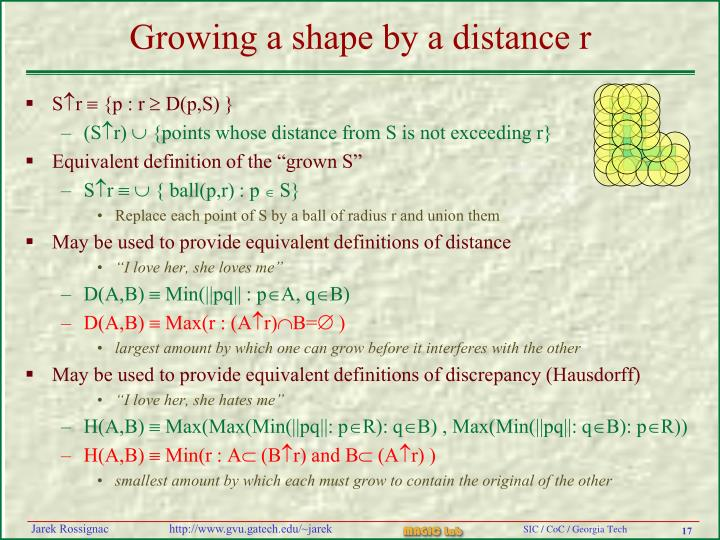 Growing a shape by a distance r
