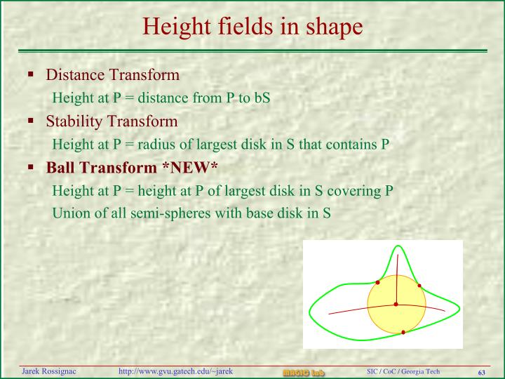 Height fields in shape