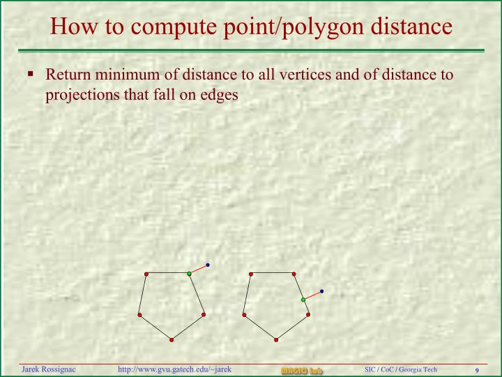 How to compute point/polygon distance