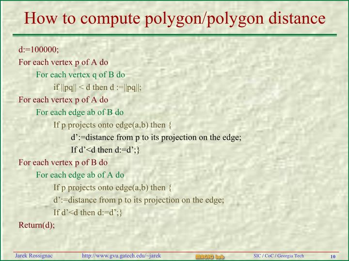 How to compute polygon/polygon distance