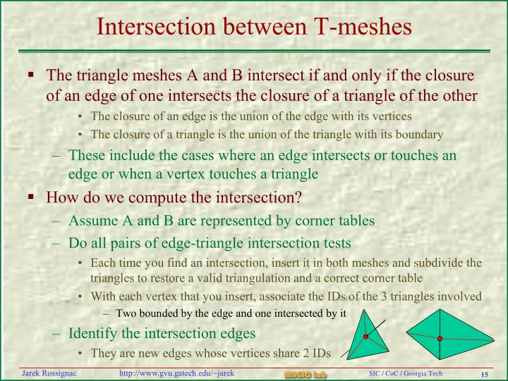 Intersection between T-meshes
