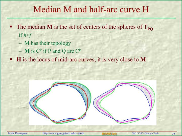 Median M and half-arc curve H