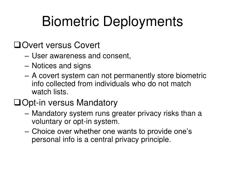 Biometric Deployments