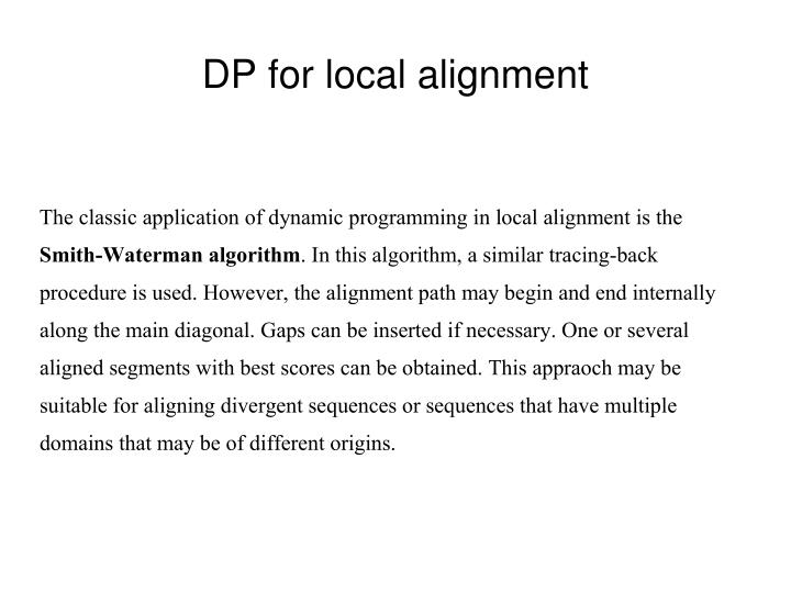 DP for local alignment