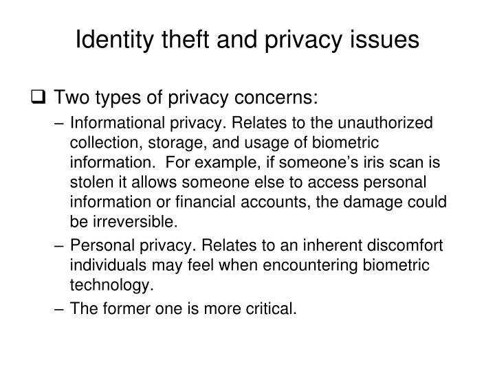 Identity theft and privacy issues