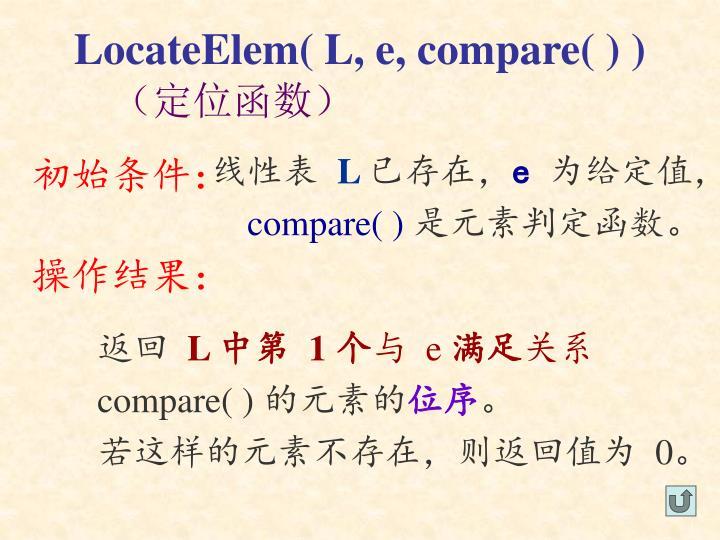 LocateElem( L, e, compare( ) )