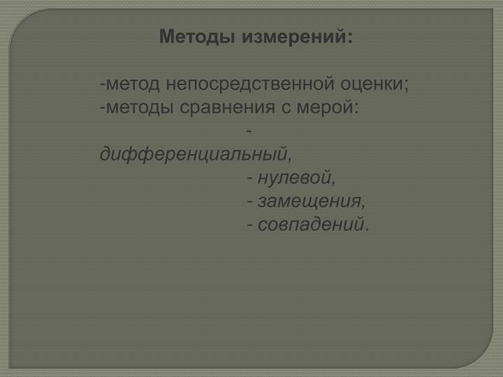 Методы измерений: