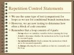 repetition control statements
