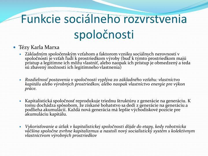 Funkcie sociálneho rozvrstvenia spoločnosti
