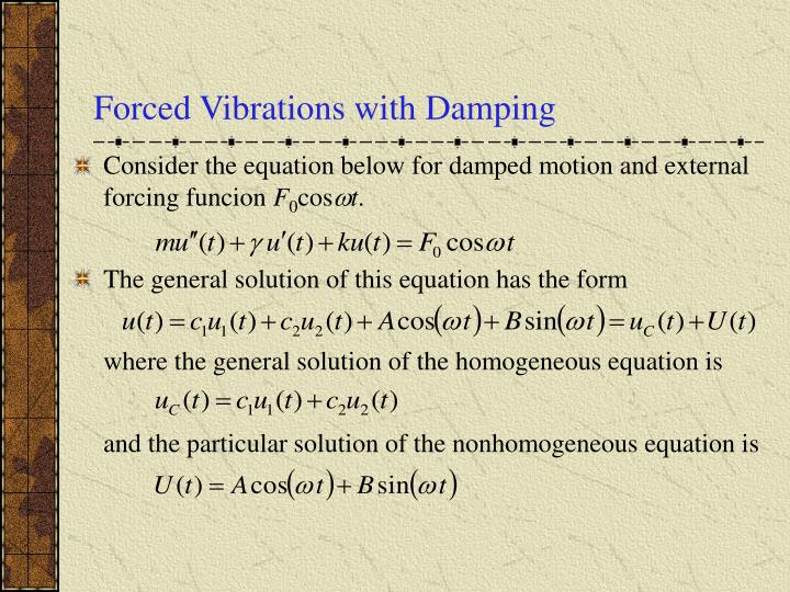 Forced vibrations with damping
