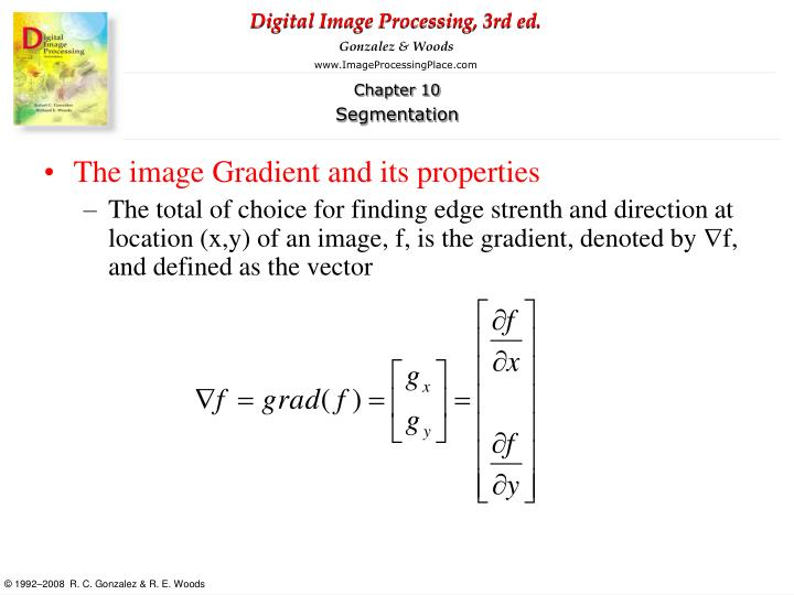 The image Gradient and its properties