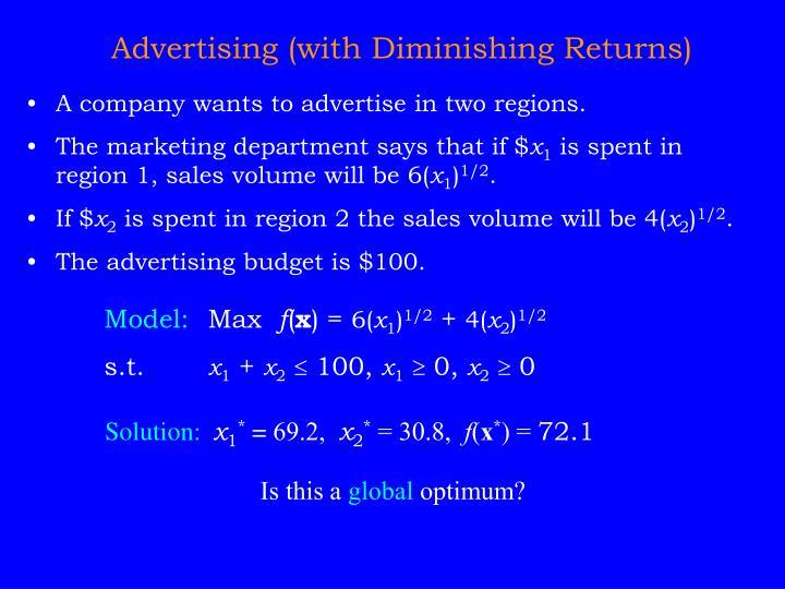 Advertising (with Diminishing Returns)